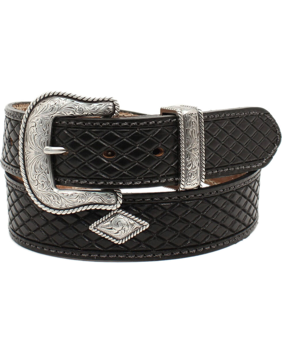 Nocona Men's Fort Worth Black Leather Belt, Black, hi-res