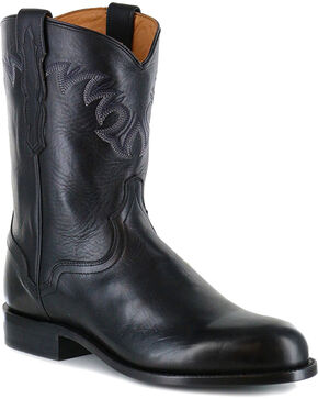 El Dorado Men's Handmade Black Embroidered Western Boots - Round Toe , Black, hi-res