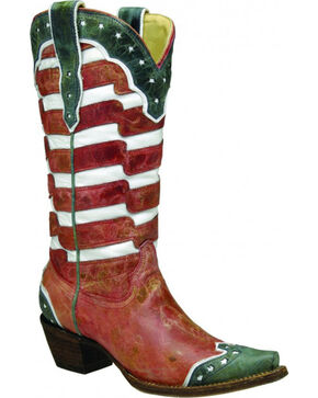 Corral Women's American Flag Cowgirl Boots - Snip Toe , Multi, hi-res