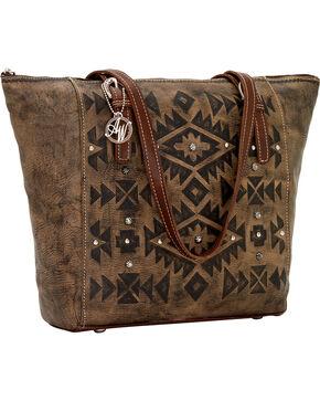 American West Mystic Shadow Zip Top Bucket Tote Bag, Dark Brown, hi-res