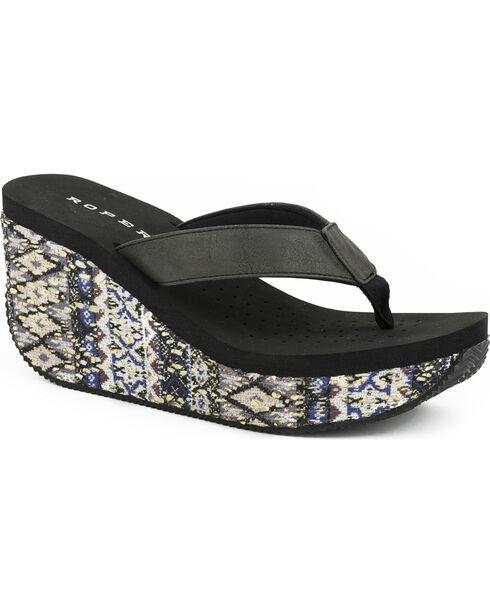 Roper Women's Black Aztec Wrap Wedge Sandals , Black, hi-res