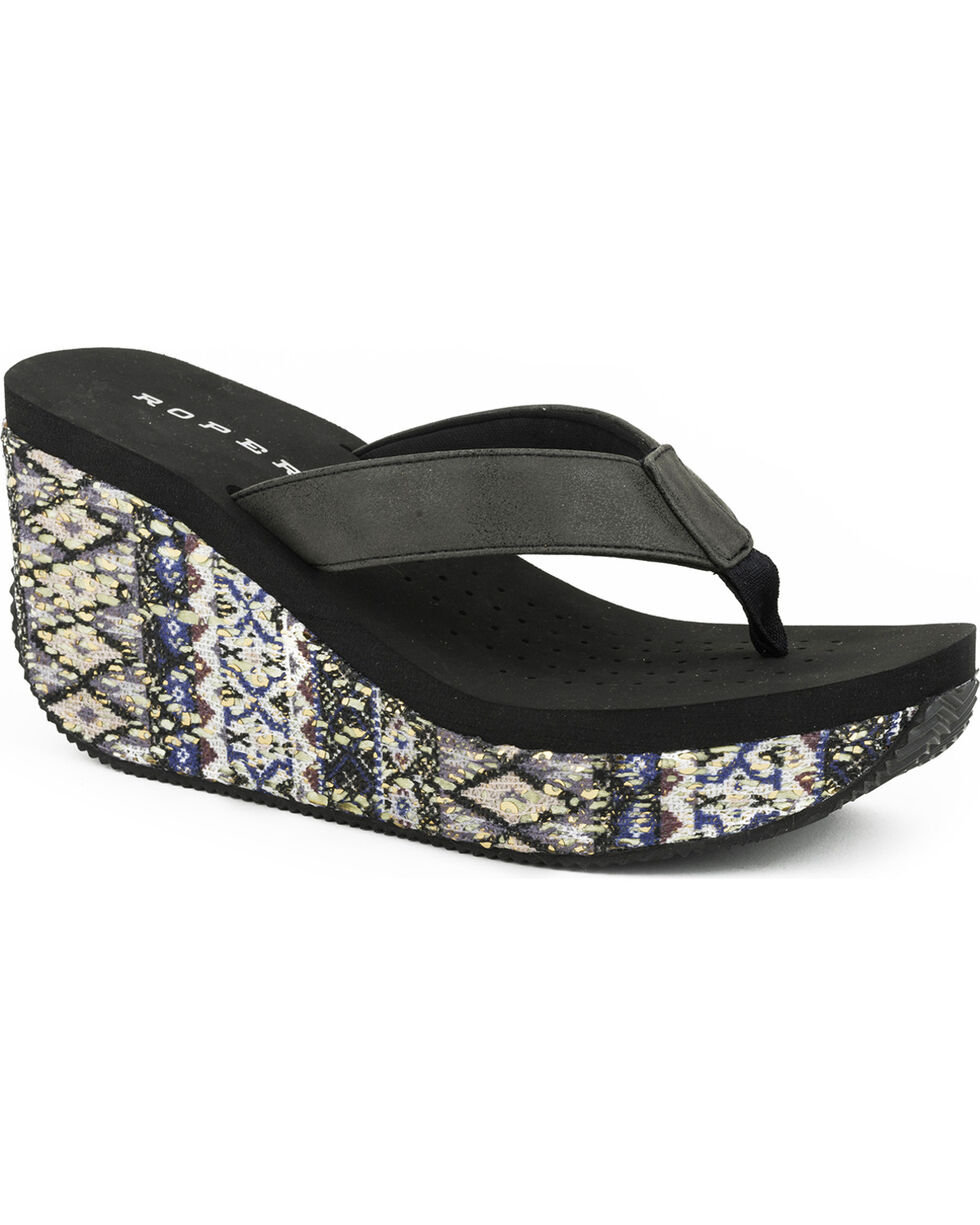 Roper Women's Black Aztec Wrap Wedge Sandals , Black, hi-res