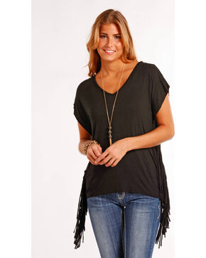 Panhandle Women's Black Side Fringe Tunic , Black, hi-res