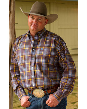 Cinch Men's Brown Plaid Long Sleeve Western Shirt , Brown, hi-res