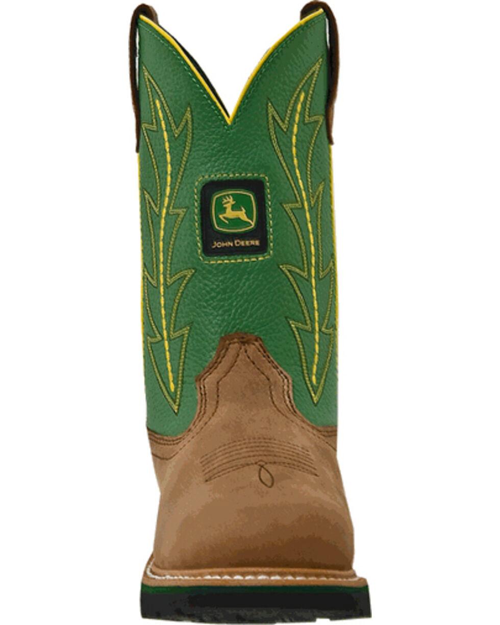 John Deere Women's Crazyhorse Green Cowgirl Boots - Round Toe, Tan, hi-res