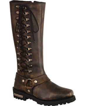 "Milwaukee Leather Women's Black Waterproof 14"" Harness Boots - Square Toe , Black, hi-res"