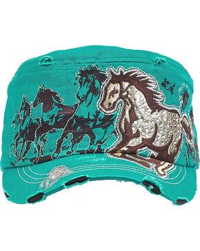 Western Express Women's Teal Vintage Running Horse Rhinestone Cadet Cap, Turquoise, hi-res
