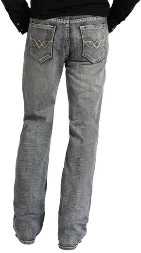 """Rock and Roll Cowboy Double Barrel Relaxed Fit Connected """"V"""" Pocket Jeans, Med Wash, hi-res"""