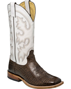 Tony Lama Men's Vaca Foot White Top Cowboy Boots - Square Toe, Chocolate, hi-res