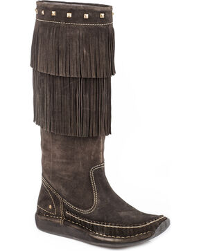 Roper Women's Brown Fiona Tall Moccasin Boots - Moc Toe , Brown, hi-res