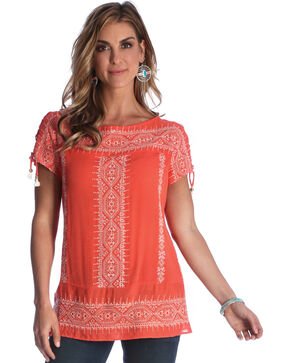 Wrangler Women's Coral Tassel Accent Top , Coral, hi-res