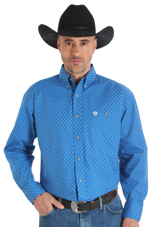 Wrangler George Strait Men's Blue Printed Poplin Button Shirt - Big & Tall, Blue, hi-res