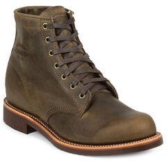 "Chippewa Men's 6"" Lace-Up Crazy Horse Service Boots - Round Toe, , hi-res"