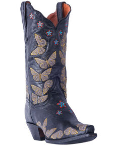 Dan Post Womens Rustic Tan Embroidered Butterfly Cowgirl Boots - Snip Toe,  Black, hi