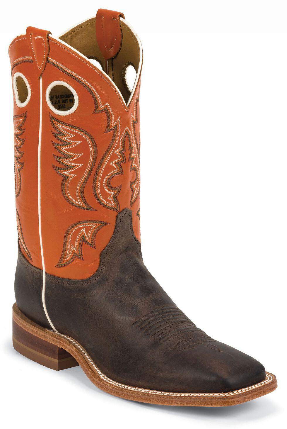 Justin Burnished Orange Cowboy Boots - Square Toe, Chocolate, hi-res
