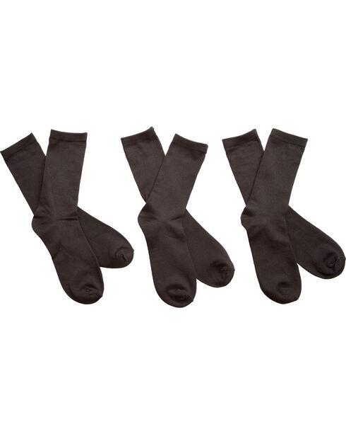 K-Bell Women's 3-Pack Solid Crew Socks, Black, hi-res