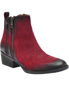 Circle G Black Cherry Burnished Double Zipper Short Boots - Round Toe, , hi-res