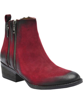 Circle G Black Cherry Burnished Double Zipper Short Boots - Round Toe, Black Cherry, hi-res