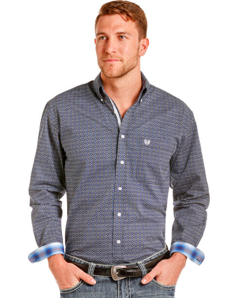 Panhandle Men's Barlow Vintage Print Long Sleeve Button Down Shirt, Blue, hi-res
