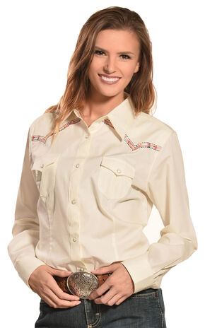 Wrangler Women's Natural Premium Patch Fashion Western Shirt  , Natural, hi-res