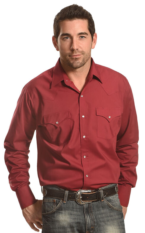 Ely Cattleman Men's Button Up Long Sleeve Shirt, Red, hi-res