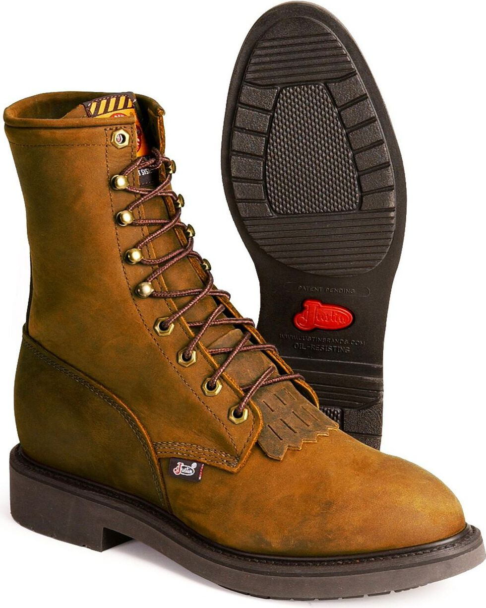 """Justin Men's Conductor 8"""" Lace-Up Work Boots - Steel Toe, Brown, hi-res"""