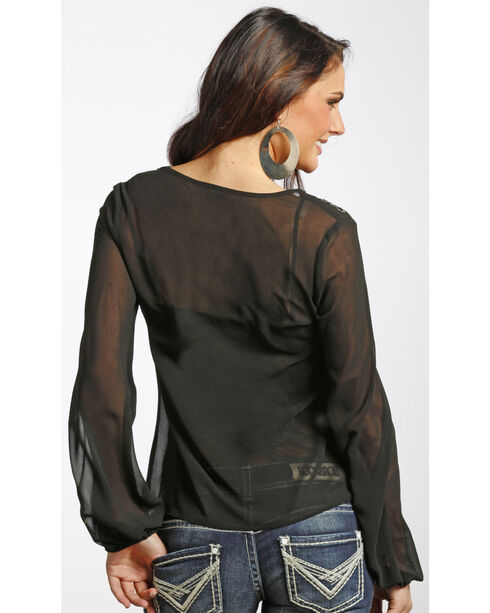Rock & Roll Cowgirl Women's Black Long Sleeve Top , Black, hi-res