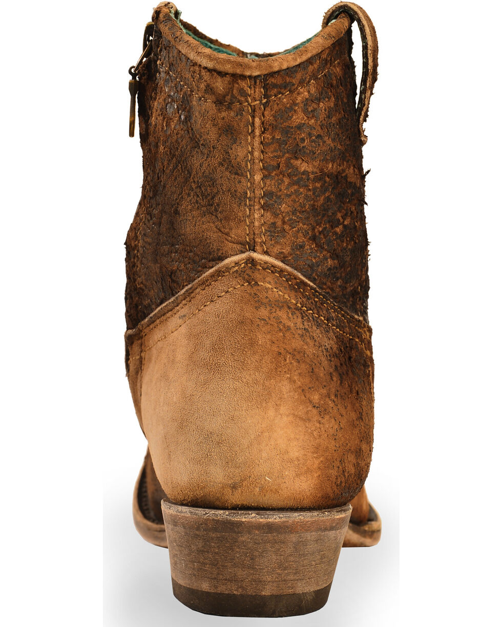 Corral Women's Lamb Abstract Short Boots - Round Toe, Chocolate, hi-res