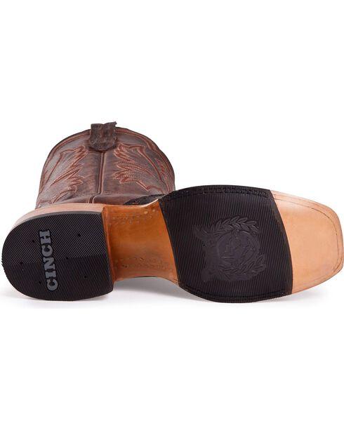 Cinch Classic Caiman Wingtip Cowboy Boots - Square Toe, Antique Brown, hi-res