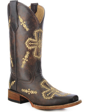 Circle G Embroidered Cross Cowgirl Boots - Square Toe, Brown, hi-res