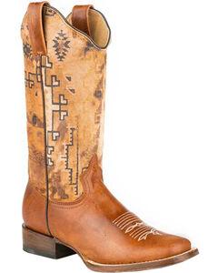 Roper Tan Goat Southwestern Print Cowgirl Boots - Square Toe , , hi-res