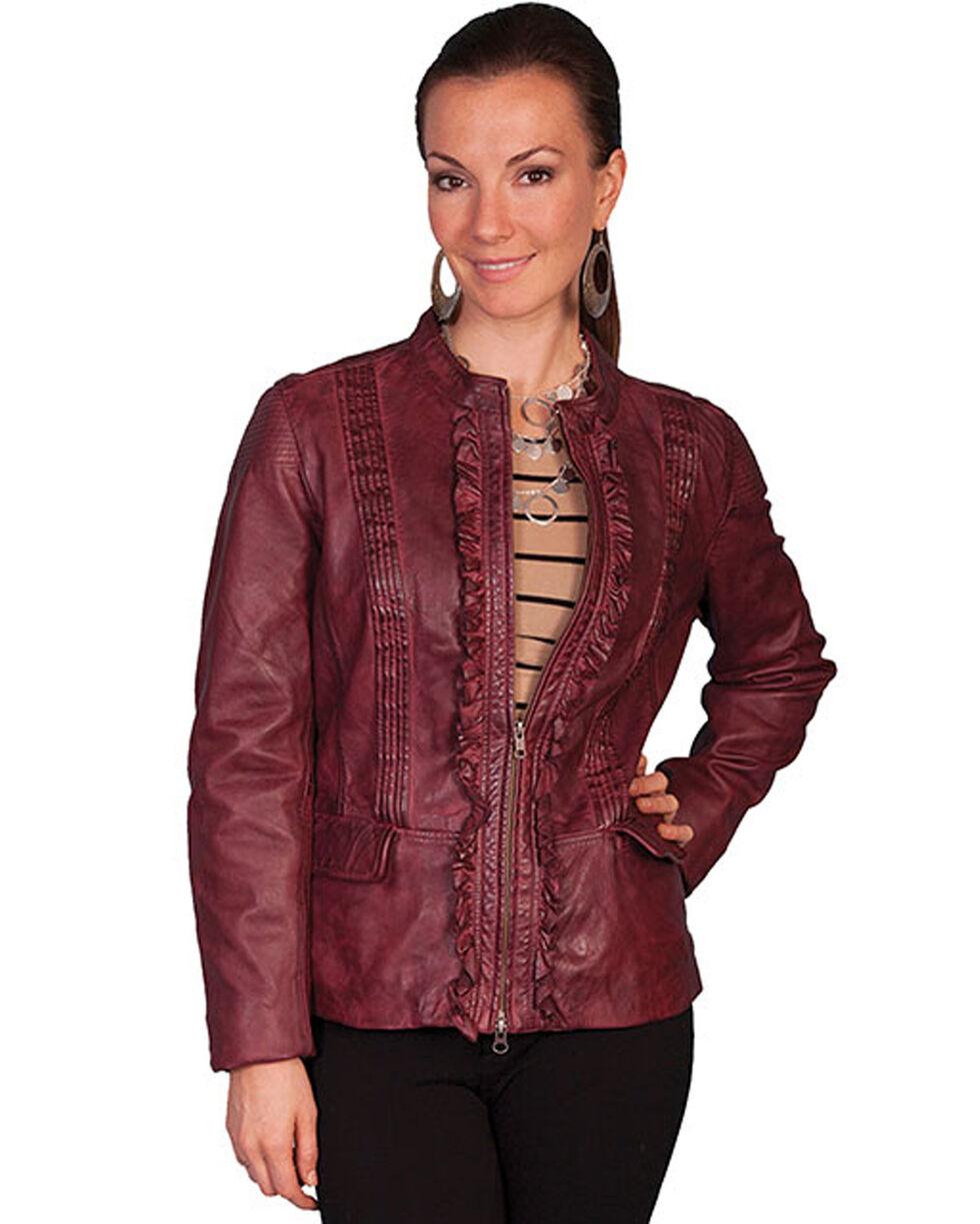Scully Women's Black Cherry Ruffled Lamb Leather Jacket, Black Cherry, hi-res