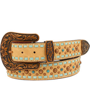 Nocona Women's Genuine Leather Laced Edge Studded Belt, Brown, hi-res