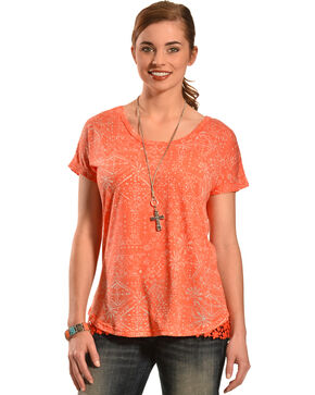 New Direction Sport Women's Orange Lace Top , Coral, hi-res