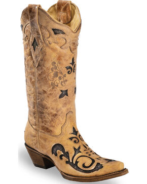 Corral Women's Snake Inlay Cowgirl Boots - Square Toe, Sand, hi-res