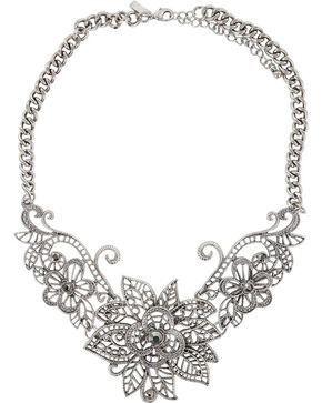 Shyanne Women's Floral Necklace, Silver, hi-res