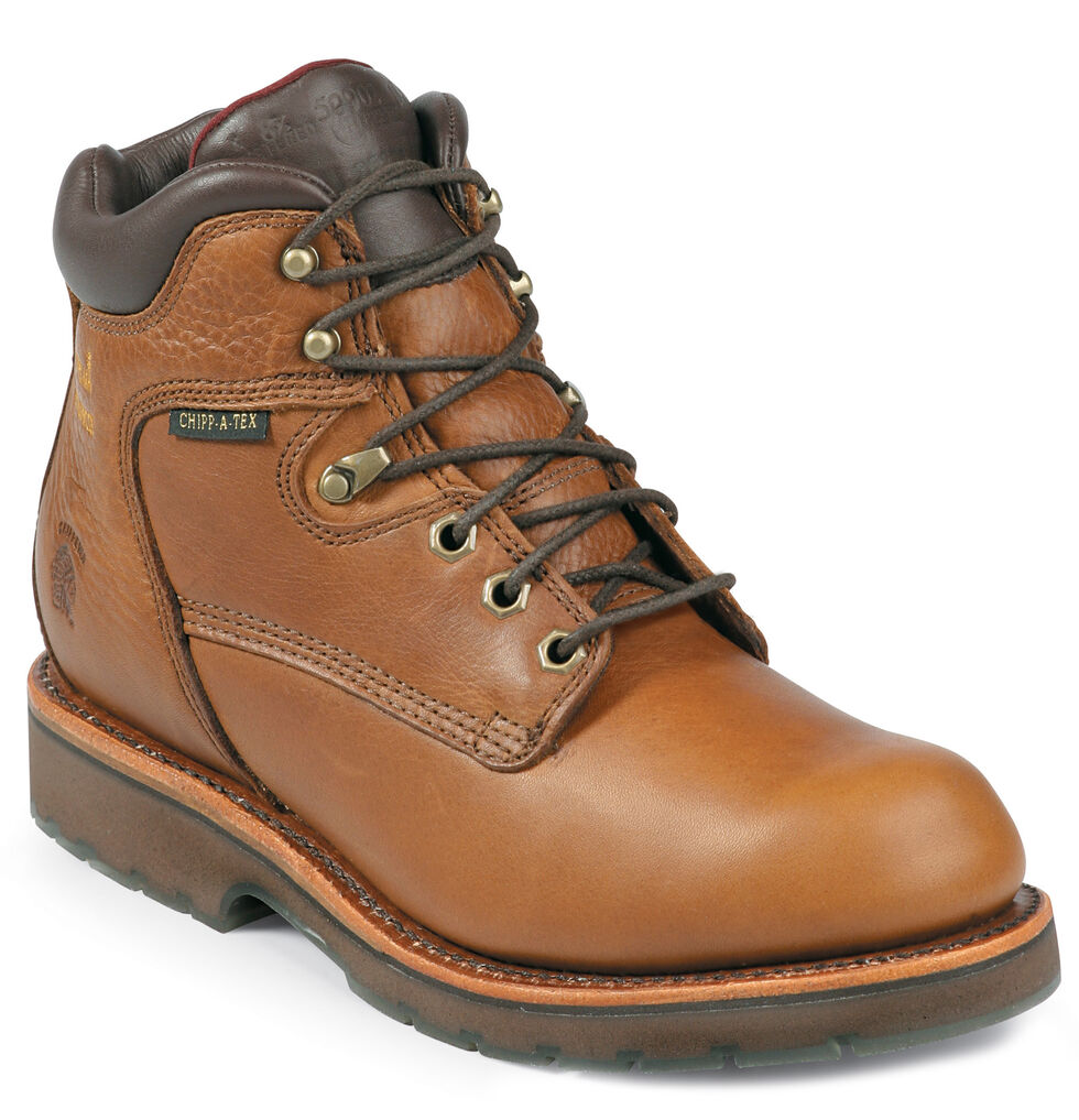 """Chippewa Waterproof 6"""" Lace-Up Work Boots - Round Toe, Tan, hi-res"""