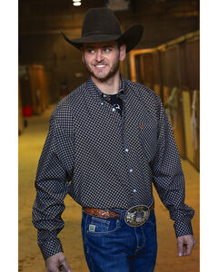 Cinch Men's Classic Fit Printed Plain Weave Long Sleeve Button Down Shirt, Black, hi-res