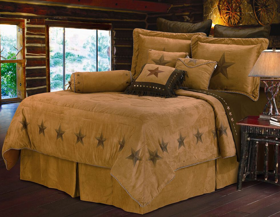 HiEnd Accents Luxury Star Full Size Bedding Set, Tan, hi-res