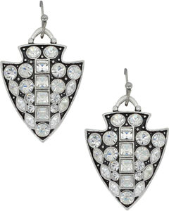 Montana Silversmiths Women's Silver Antiqued Glam Arrowhead Earrings , Silver, hi-res
