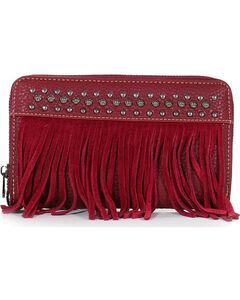 Shyanne Women's Studded Fringe Wallet, Red, hi-res