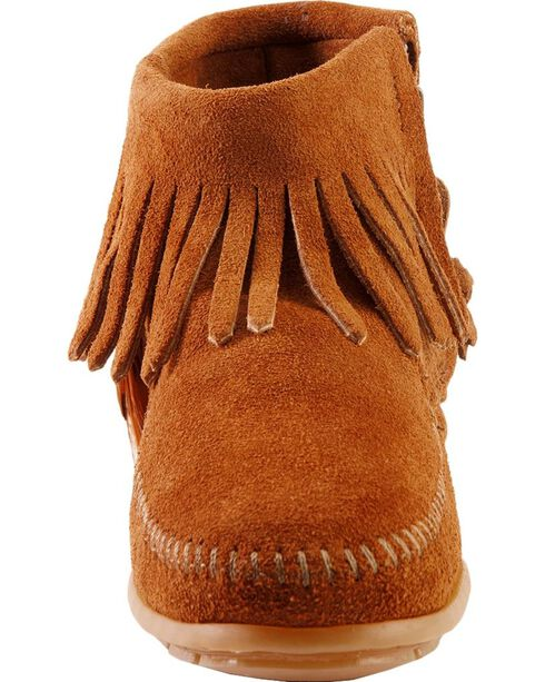 Minnetonka Feather & Concho Fringe Bootie Moccasins, Brown, hi-res