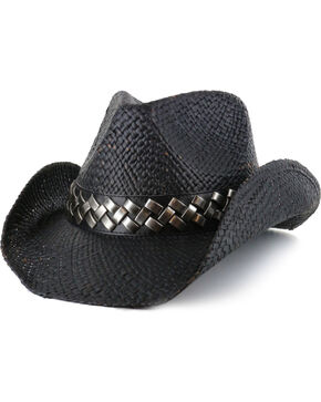 Cody James Men's Tough Edge Straw Hat, Black, hi-res