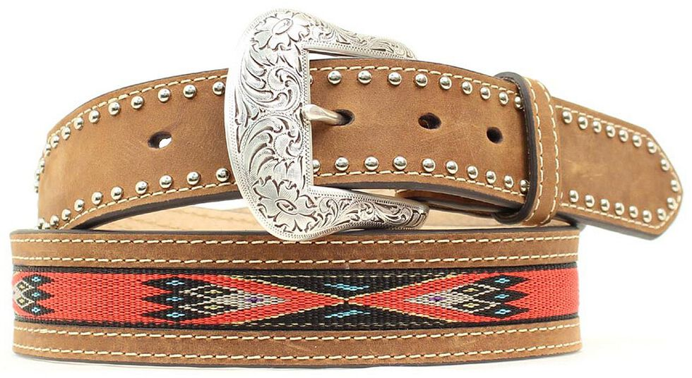 Nocona Top Hand Woven Aztec Inlay Belt, Med Brown, hi-res