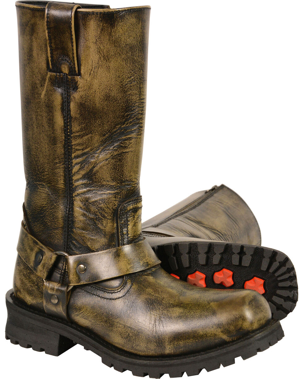 """Milwaukee Leather Men's Black Waterproof 11"""" Harness Boots - Square Toe - Wide, Black, hi-res"""