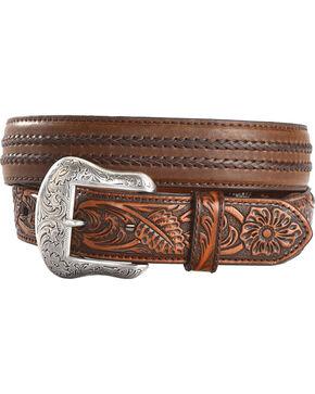 Cody James Men's Filigree Overlay Leather Belt, Brown, hi-res