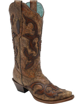Corral Women's Brown Patch Tall Cowgirl Boots - Snip Toe, Cognac, hi-res