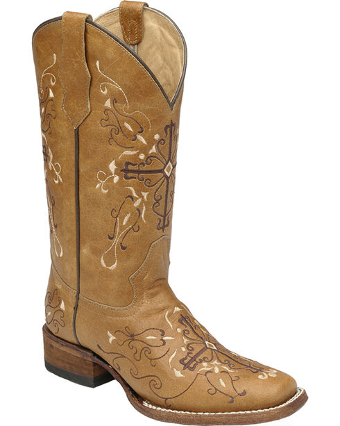Circle G Women's Embroidered Cross Western Boots - Square Toe, Tan, hi-res