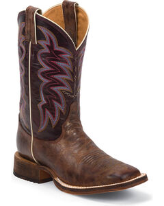 Justin Women's Yancey Burgundy Bent Rail Cowgirl Boots - Square Toe, Bronze, hi-res