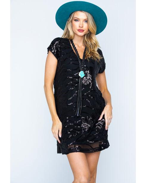 Illa Illa Women's Short Sleeve Sequin Dress, Black, hi-res